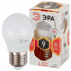 LED P45-9W-827-E27 ЭРА (диод, шар, 9Вт, тепл, E27) (10/100/3600)