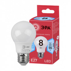 Лампы СВЕТОДИОДНЫЕ ЭКО ECO LED A55-8W-840-E27  ЭРА (диод, груша, 8Вт, нейтр, E27)