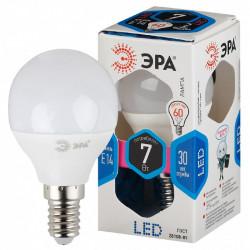 LED P45-7W-840-E14 ЭРА (диод, шар, 7Вт, нейтр, E14), (10/100/3600)