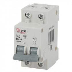 SIMPLE-mod-10 ЭРА SIMPLE Автоматический выключатель 2P  6А (C) 4,5кА ВА 47-29 (6/90/2520)