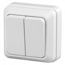 2Э-104-01 Intro Выключатель двойной, 10А-250В, ОУ, б.м.п., Quadro, белый (10/200/3600)