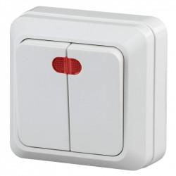 2Э-105-01 Intro Выключатель двойной с подсветкой, 10А-250В, ОУ, б.м.п., Quadro, белый (10/200/2400)